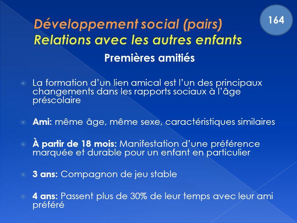 Développement social (pairs) Relations avec les autres enfants