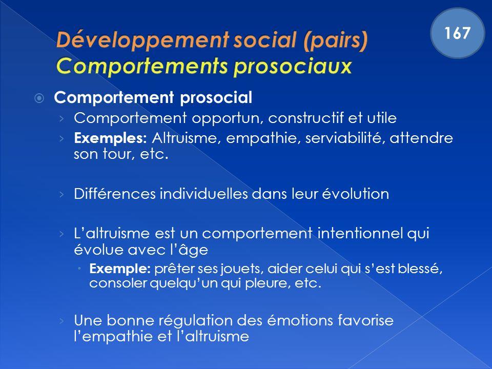 Développement social (pairs) Comportements prosociaux