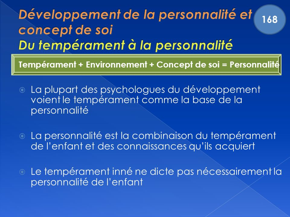 168 Développement de la personnalité et du concept de soi Du tempérament à la personnalité.