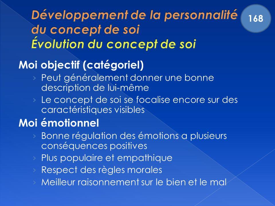 168 Développement de la personnalité et du concept de soi Évolution du concept de soi. Moi objectif (catégoriel)