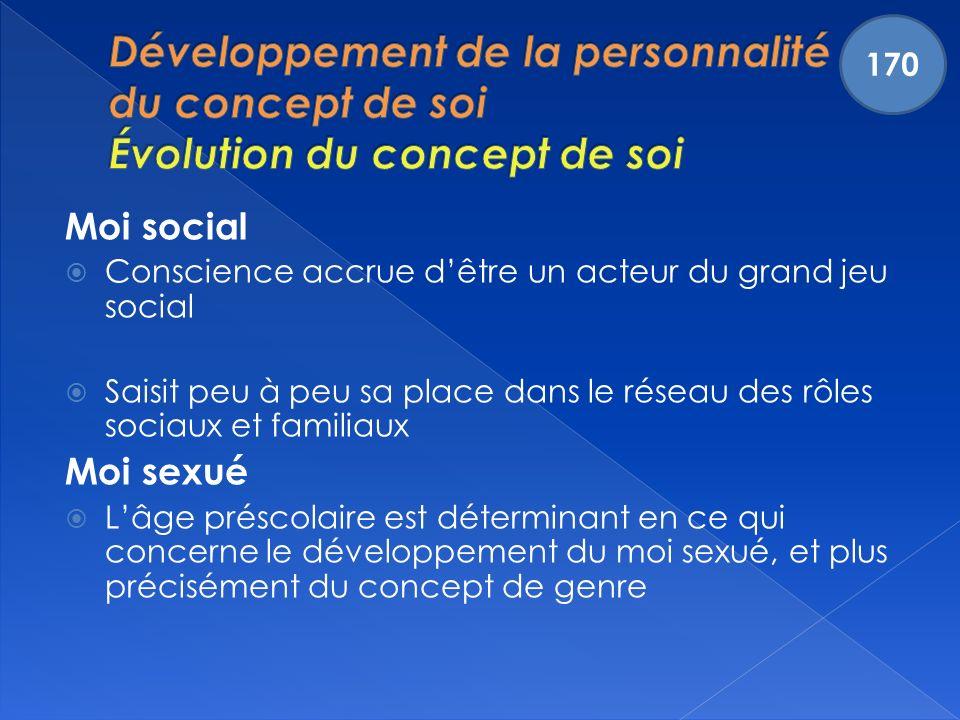 170 Développement de la personnalité et du concept de soi Évolution du concept de soi. Moi social.