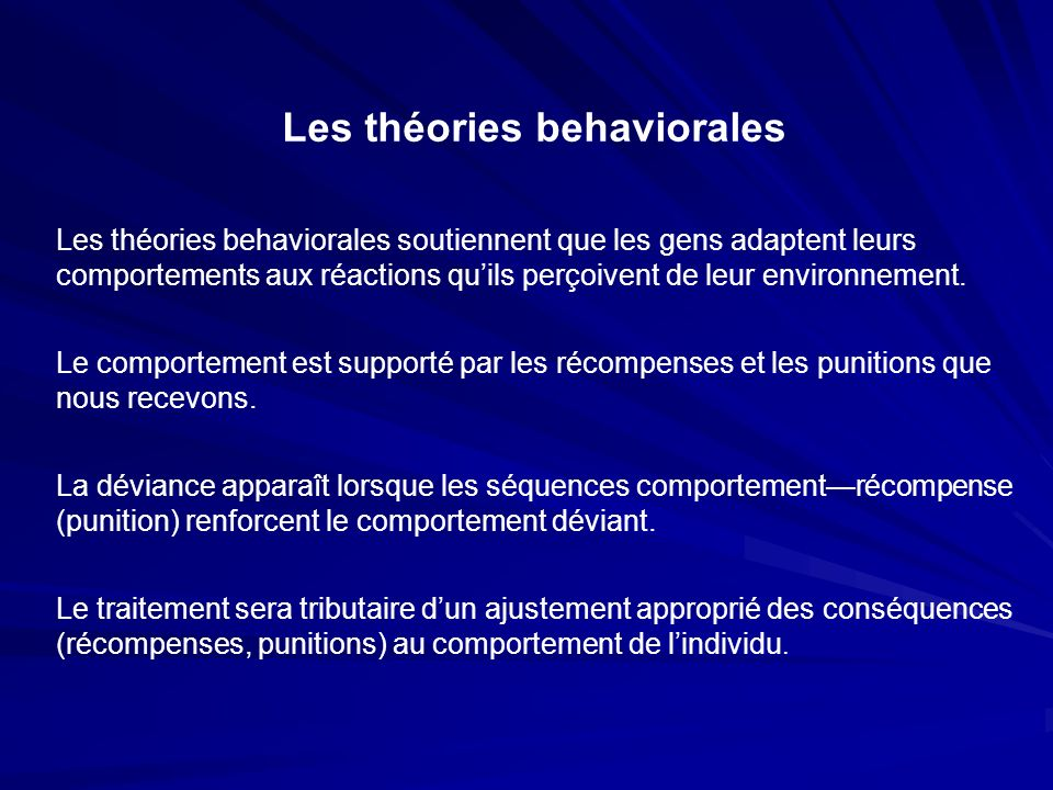Les théories behaviorales