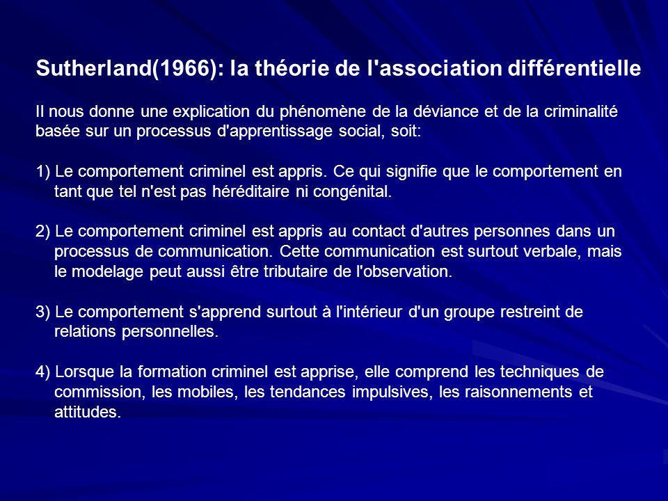 Sutherland(1966): la théorie de l association différentielle