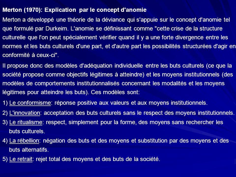 Merton (1970): Explication par le concept d anomie
