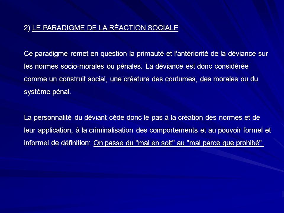 2) LE PARADIGME DE LA RÉACTION SOCIALE