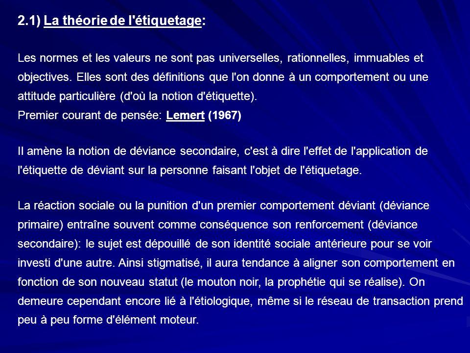 2.1) La théorie de l étiquetage: