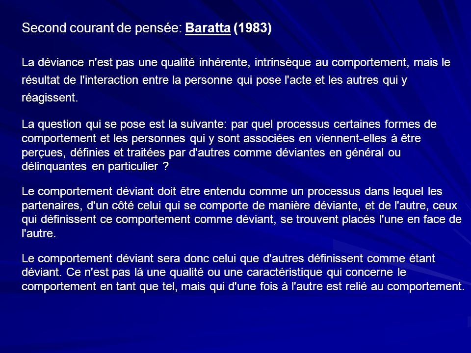 Second courant de pensée: Baratta (1983)