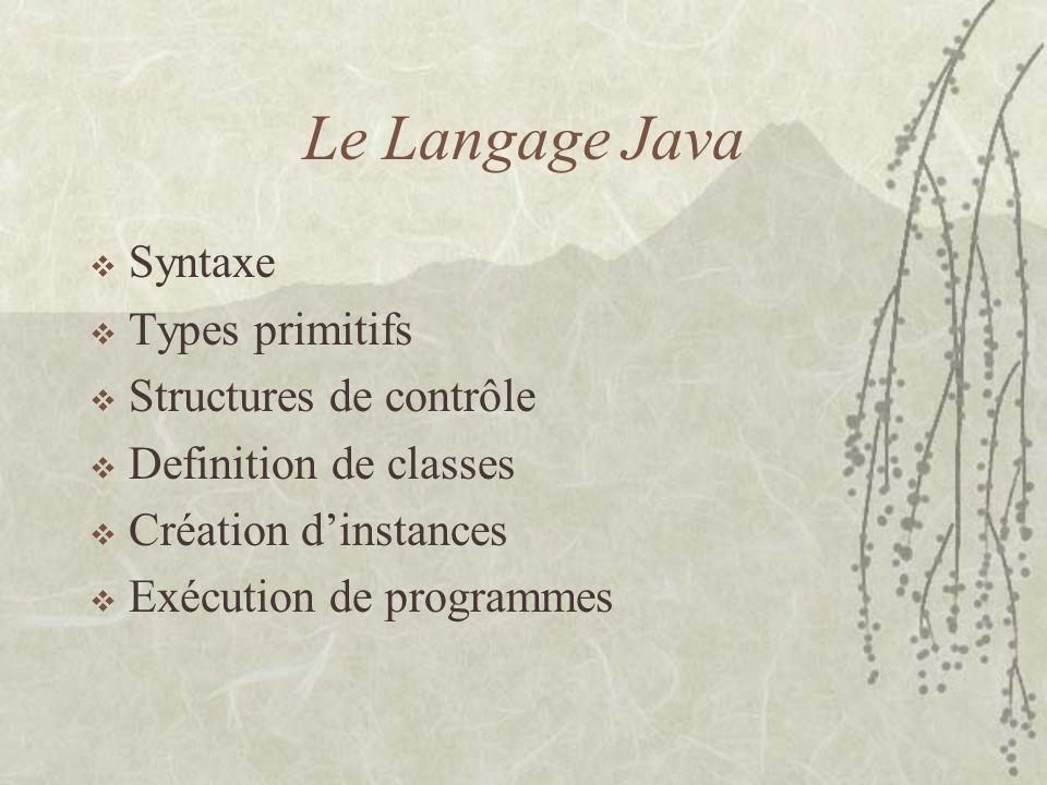 Le Langage Java Syntaxe Types primitifs Structures de contrôle