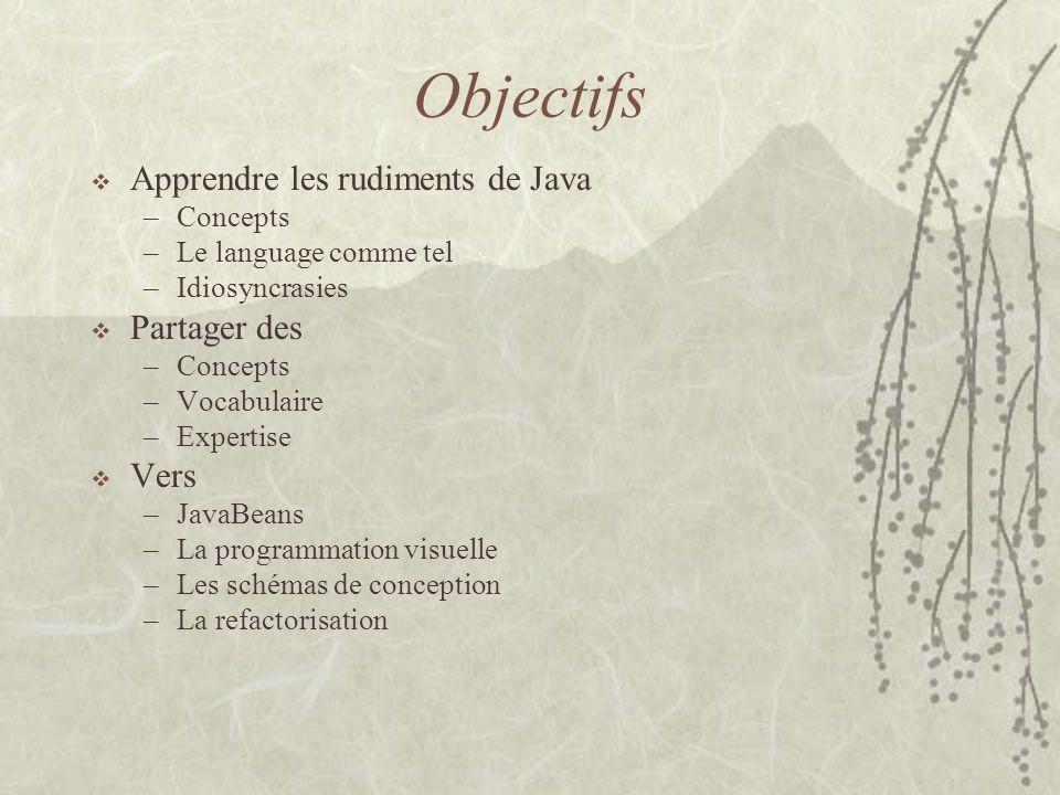 Objectifs Apprendre les rudiments de Java Partager des Vers Concepts