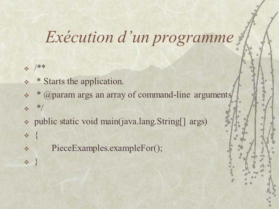Exécution d'un programme
