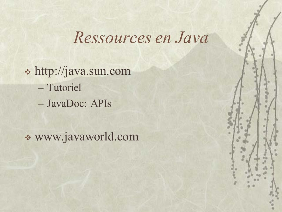 Ressources en Java http://java.sun.com www.javaworld.com Tutoriel
