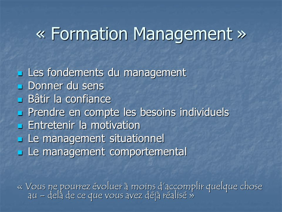« Formation Management »