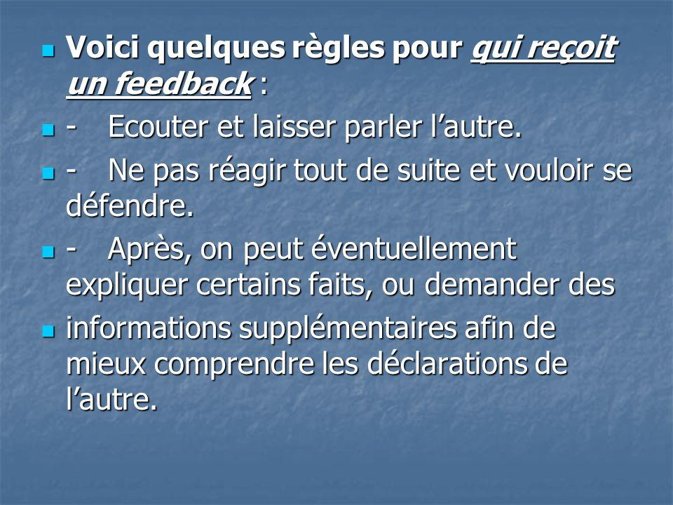 Voici quelques règles pour qui reçoit un feedback :