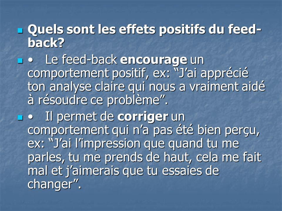 Quels sont les effets positifs du feed-back