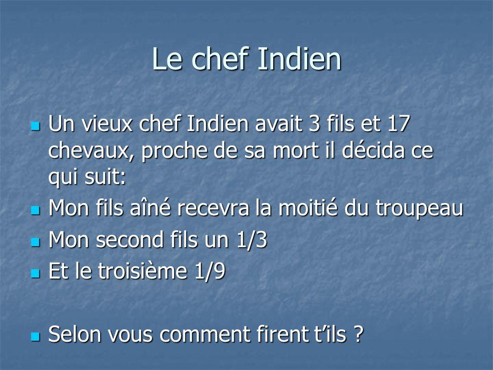 Le chef Indien Un vieux chef Indien avait 3 fils et 17 chevaux, proche de sa mort il décida ce qui suit: