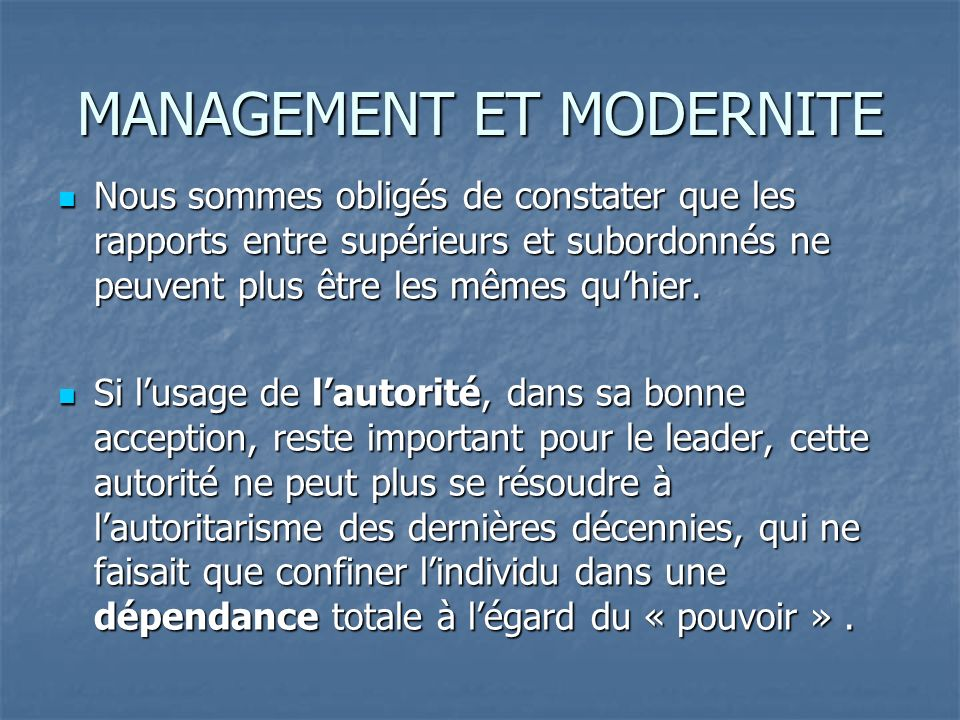 MANAGEMENT ET MODERNITE