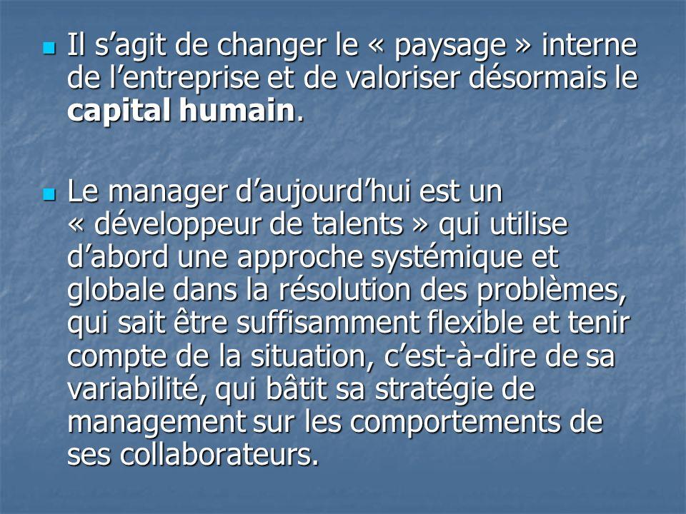 Il s'agit de changer le « paysage » interne de l'entreprise et de valoriser désormais le capital humain.