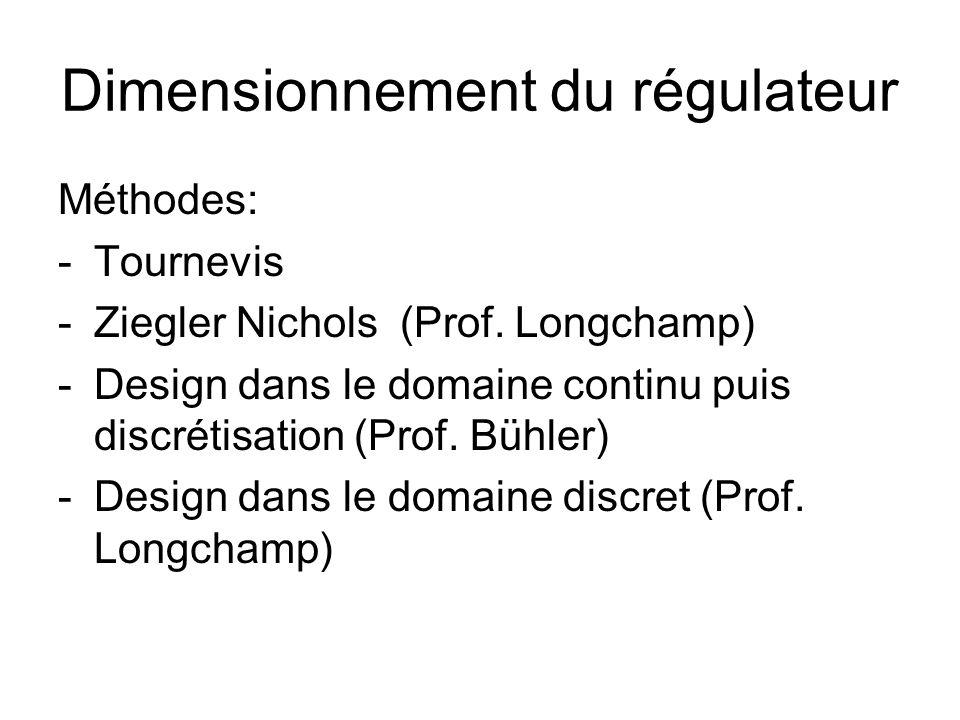 Dimensionnement du régulateur