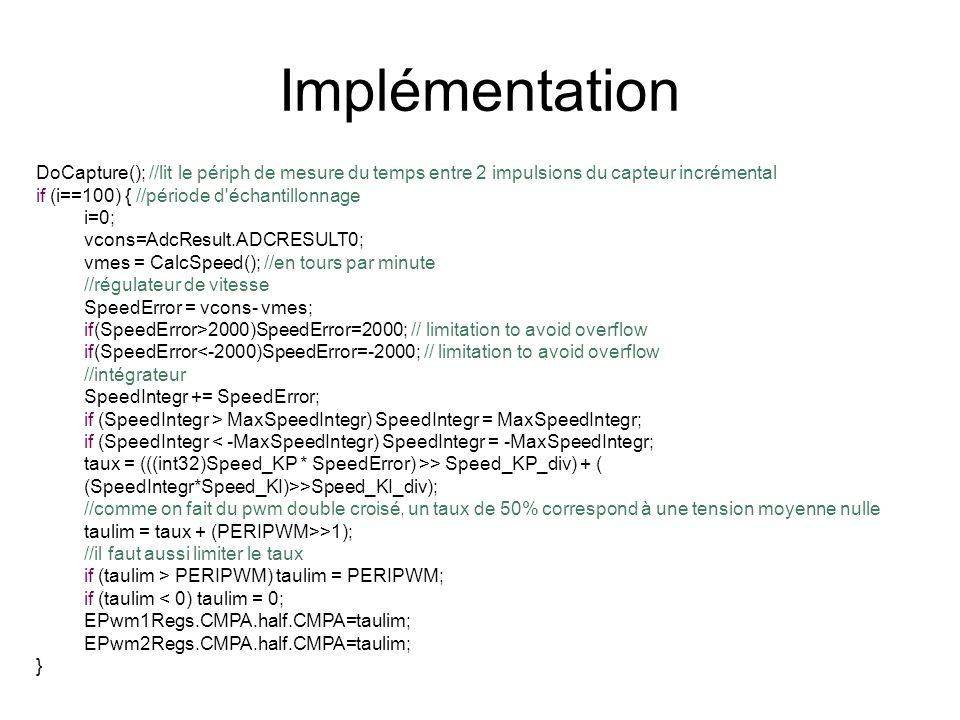 Implémentation DoCapture(); //lit le périph de mesure du temps entre 2 impulsions du capteur incrémental.