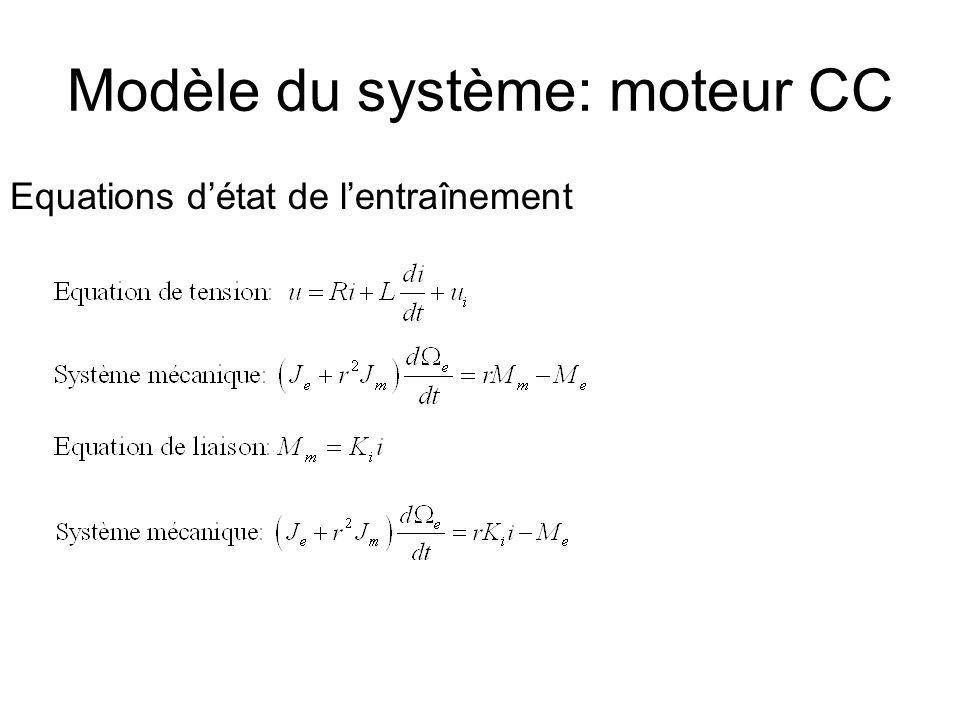Modèle du système: moteur CC