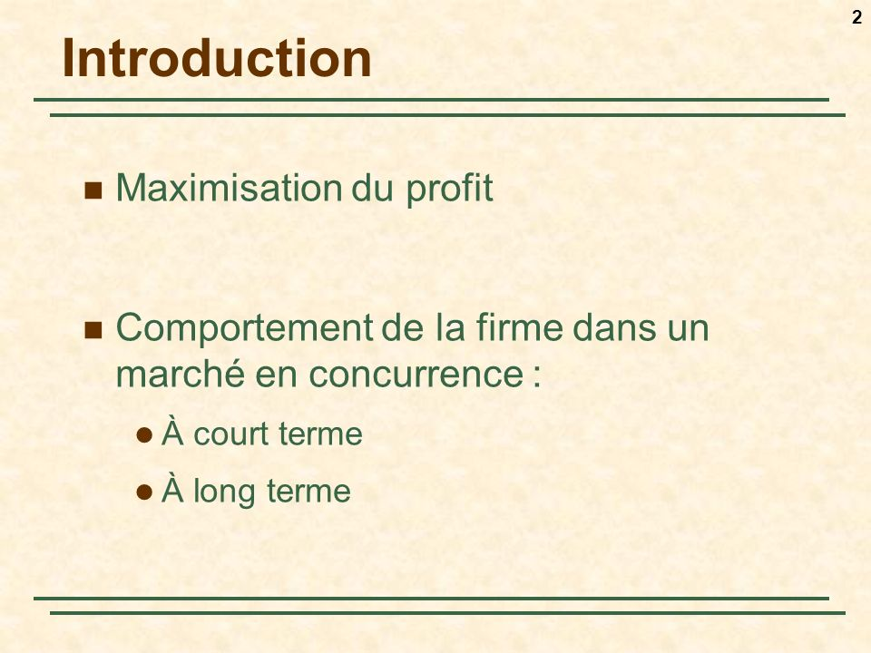 Introduction Maximisation du profit