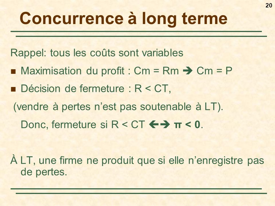 Concurrence à long terme