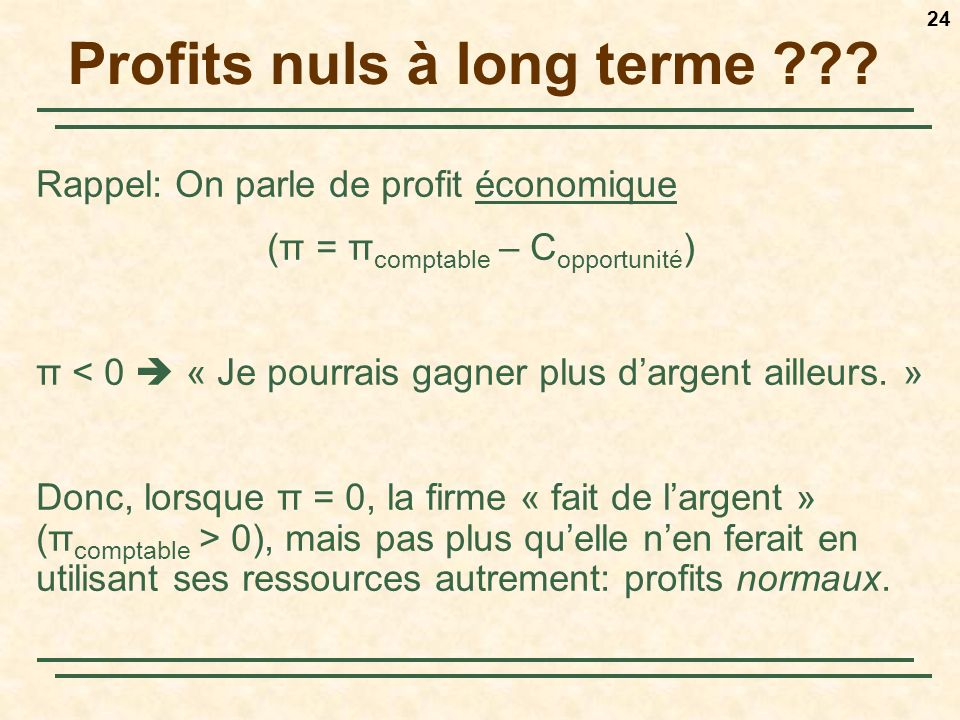 Profits nuls à long terme
