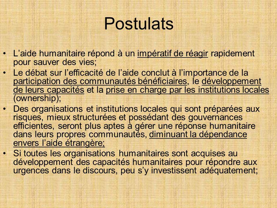 Postulats L'aide humanitaire répond à un impératif de réagir rapidement pour sauver des vies;