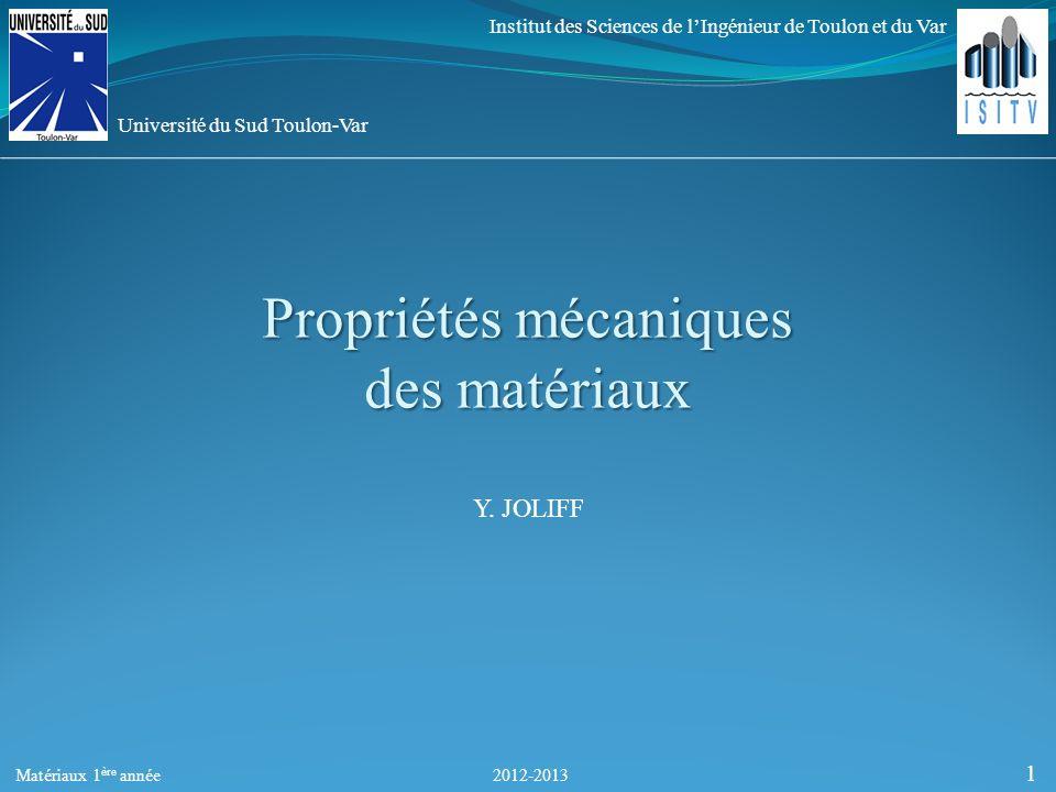 Propriétés mécaniques des matériaux