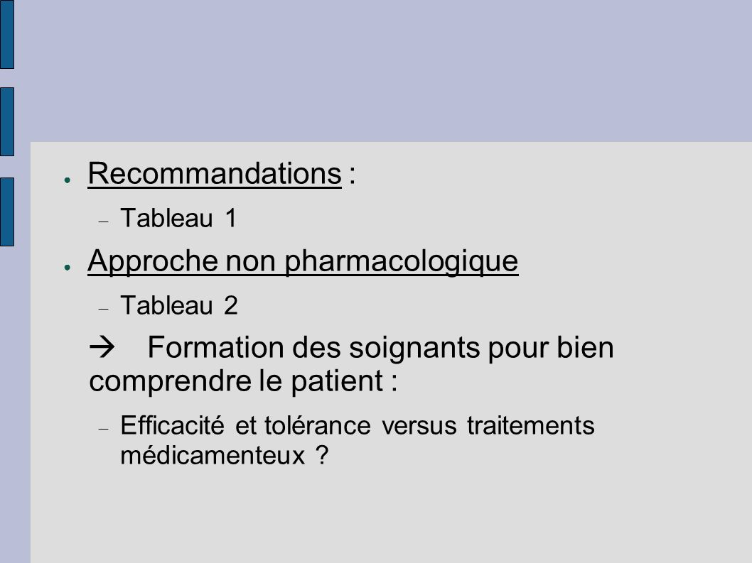Approche non pharmacologique