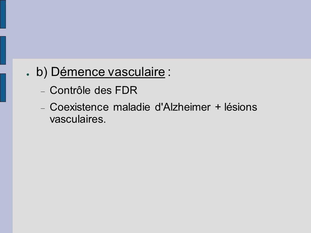 b) Démence vasculaire :