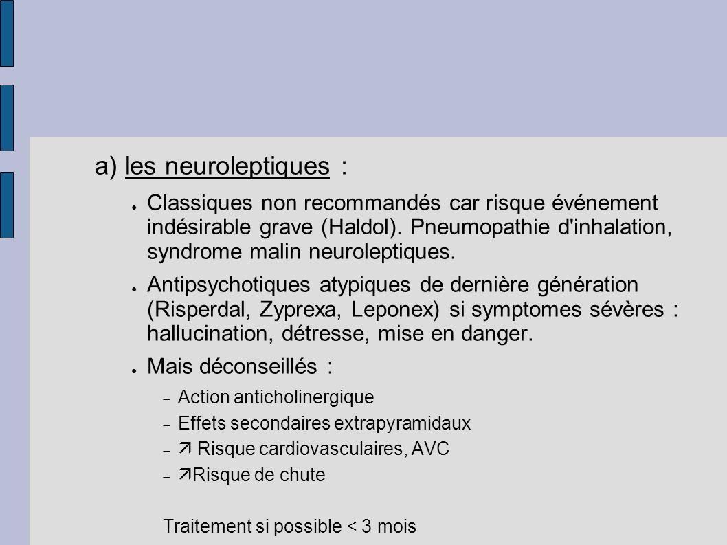 a) les neuroleptiques :