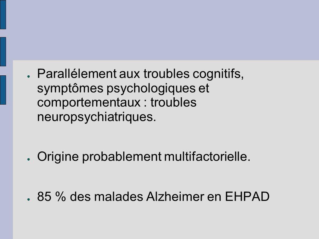 Parallélement aux troubles cognitifs, symptômes psychologiques et comportementaux : troubles neuropsychiatriques.