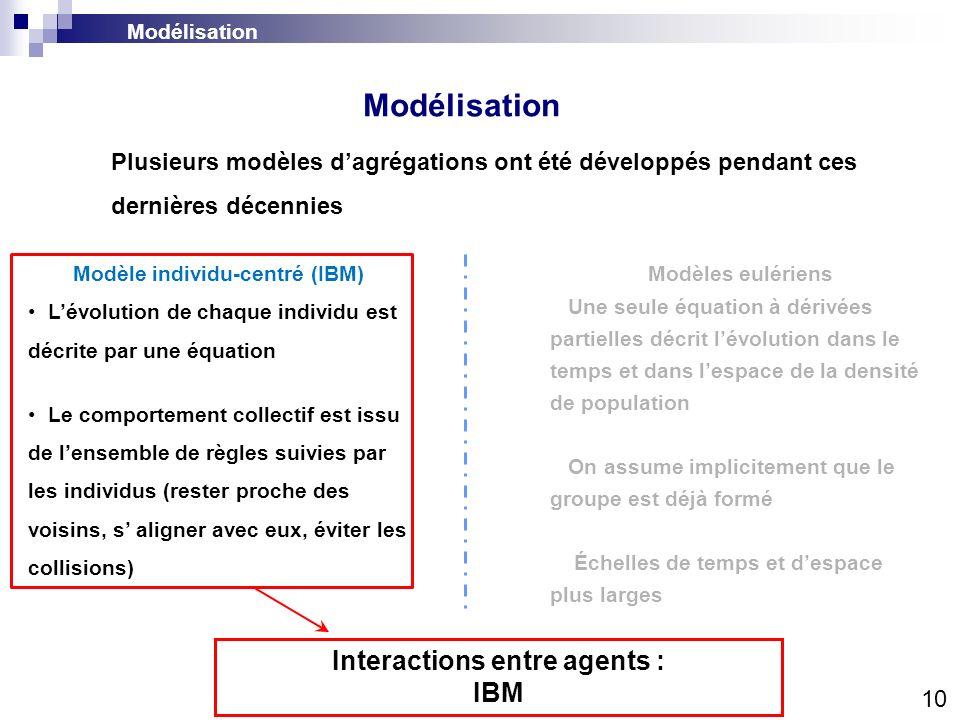 Modèle individu-centré (IBM) Interactions entre agents :