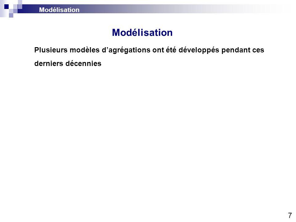 Modélisation Modélisation. Plusieurs modèles d'agrégations ont été développés pendant ces derniers décennies.
