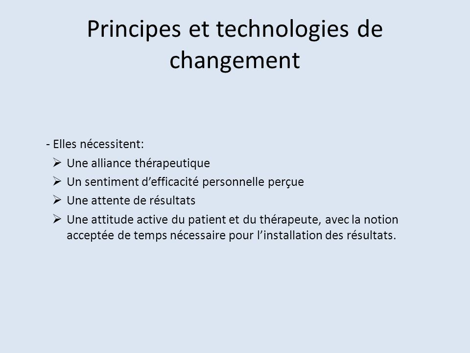 Principes et technologies de changement