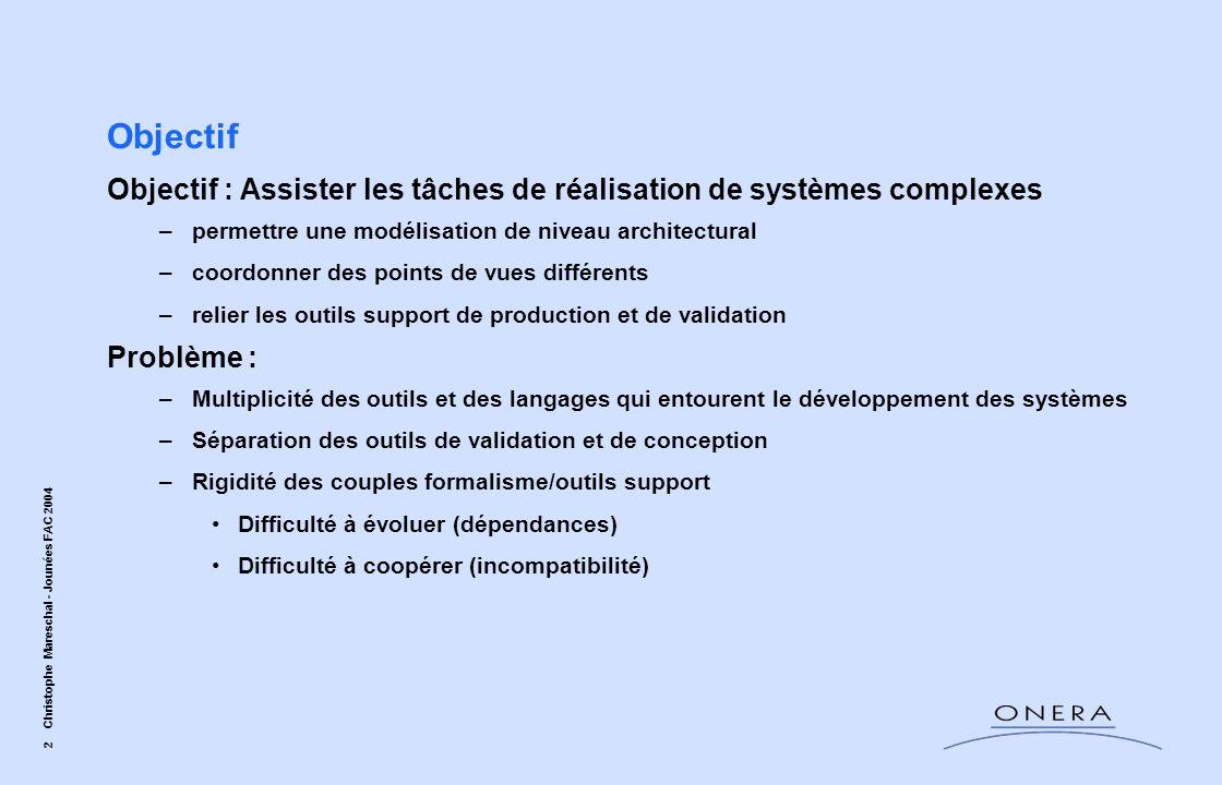 Objectif Objectif : Assister les tâches de réalisation de systèmes complexes. permettre une modélisation de niveau architectural.