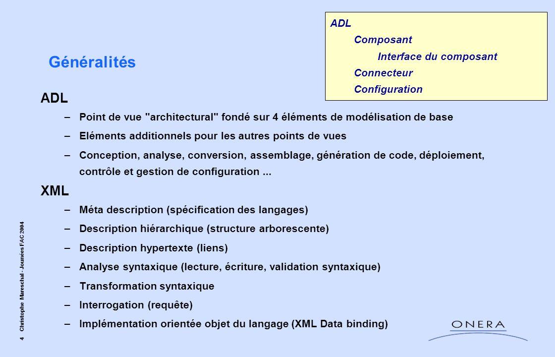 Généralités ADL XML ADL Composant Interface du composant Connecteur