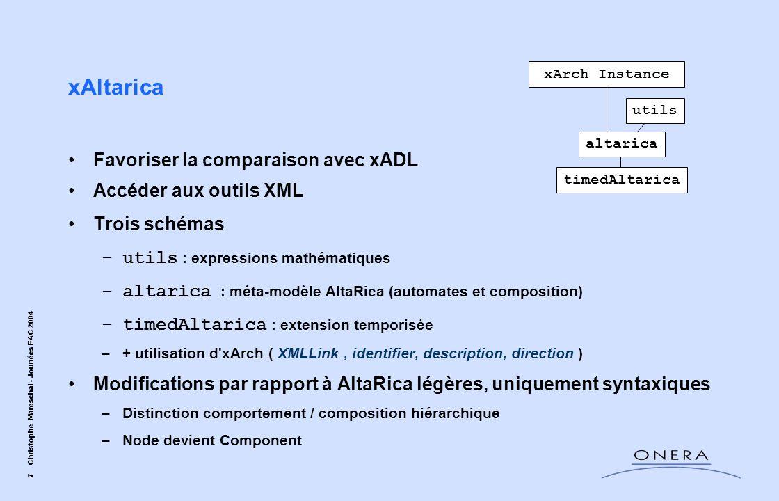 xAltarica Favoriser la comparaison avec xADL Accéder aux outils XML
