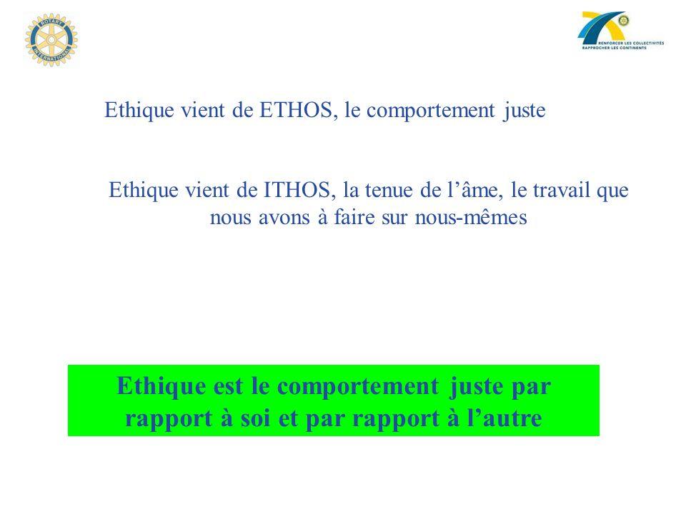 Ethique vient de ETHOS, le comportement juste
