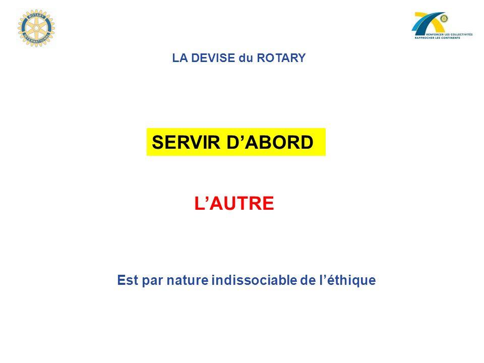 SERVIR D'ABORD L'AUTRE Est par nature indissociable de l'éthique