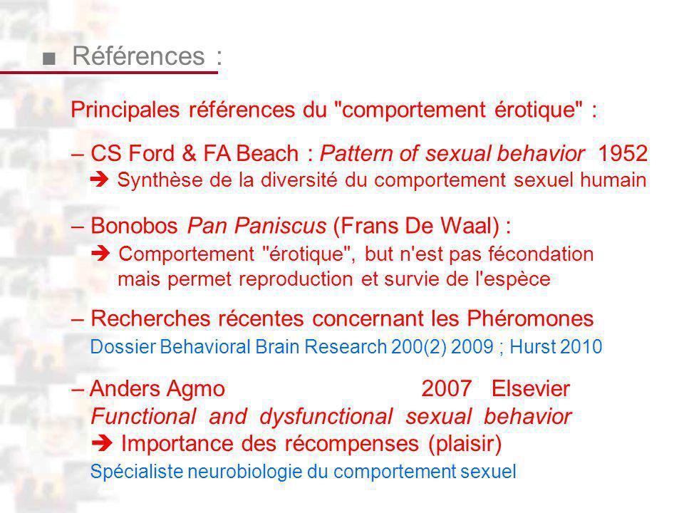 ■ Références : Principales références du comportement érotique :