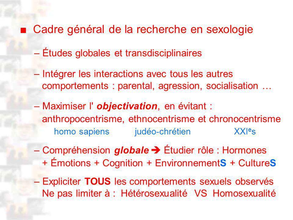 ■ Cadre général de la recherche en sexologie