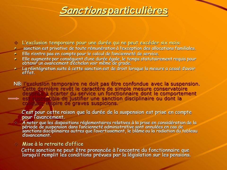 Sanctions particulières