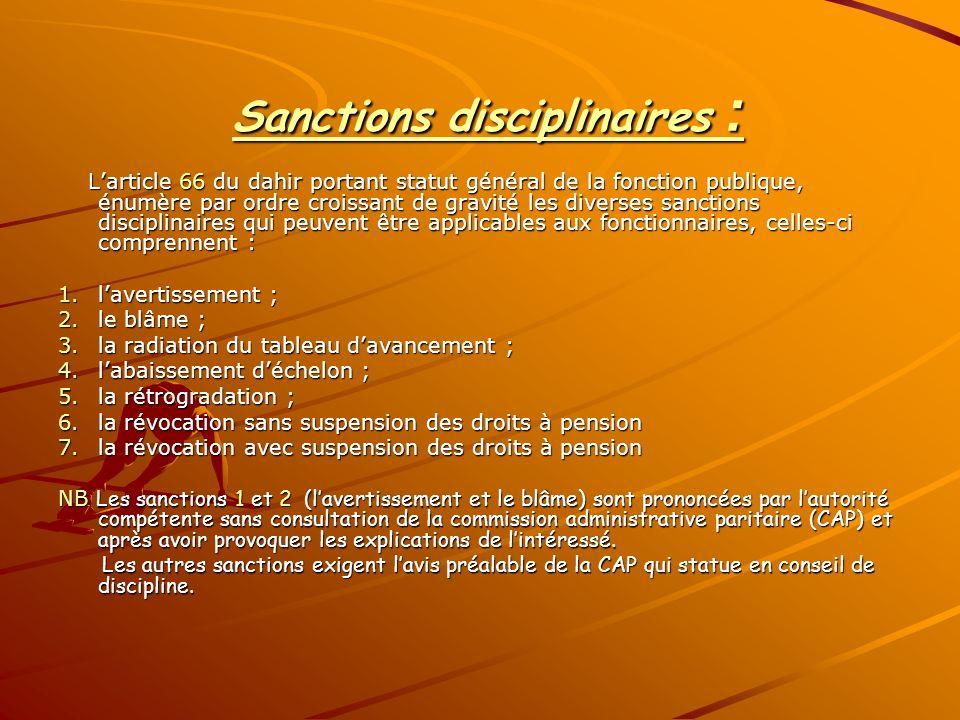 Sanctions disciplinaires :
