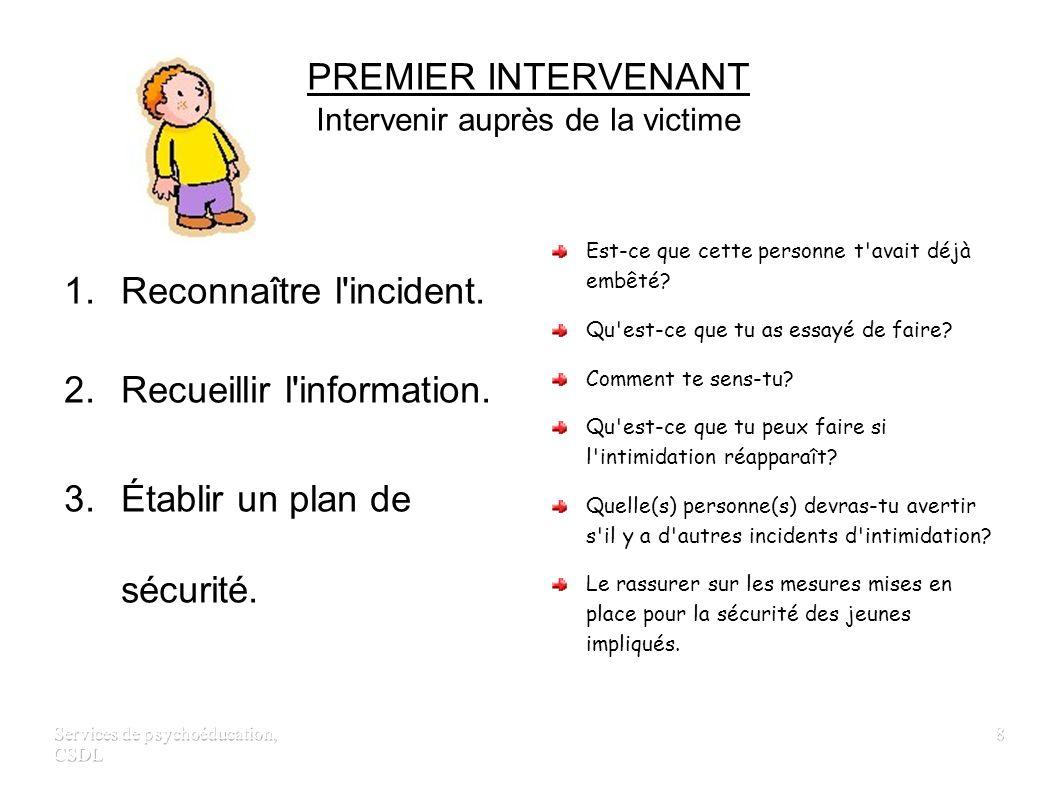 PREMIER INTERVENANT Intervenir auprès de la victime