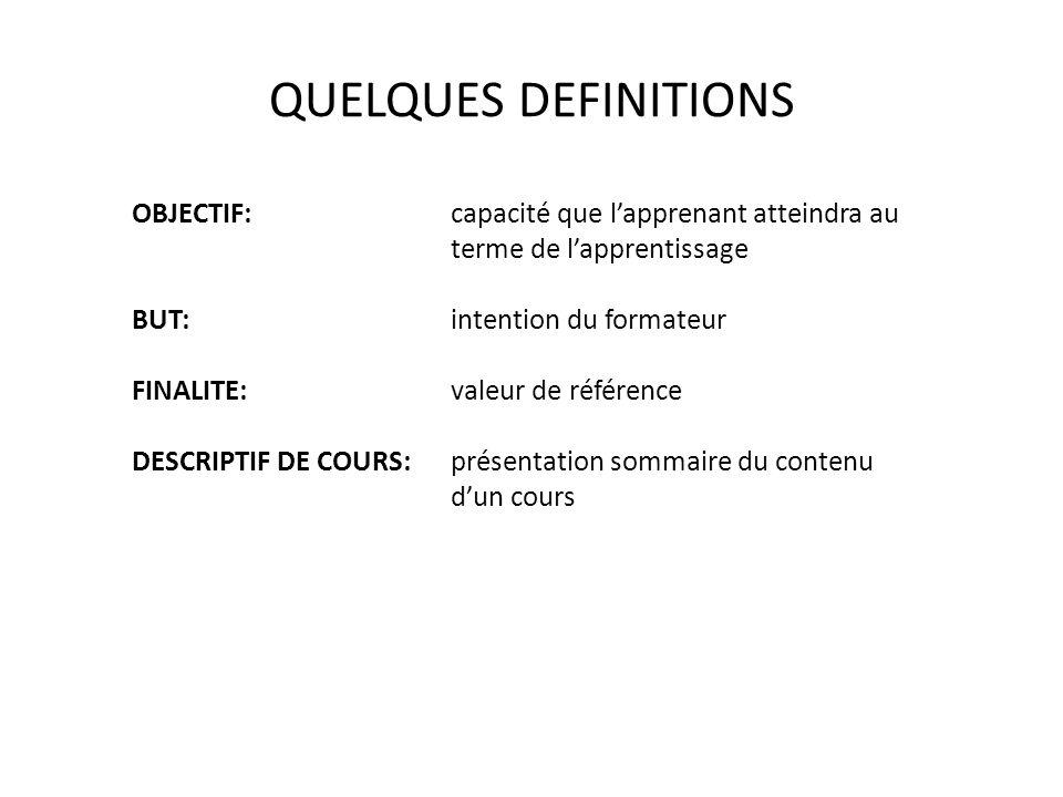 QUELQUES DEFINITIONS OBJECTIF: capacité que l'apprenant atteindra au terme de l'apprentissage. BUT: intention du formateur.