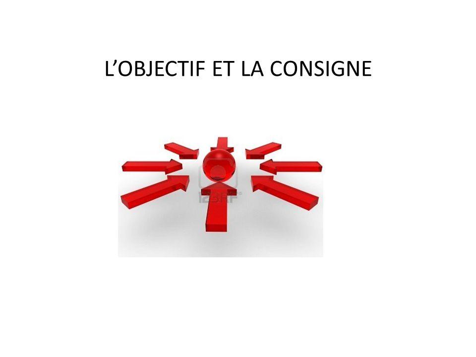 L'OBJECTIF ET LA CONSIGNE