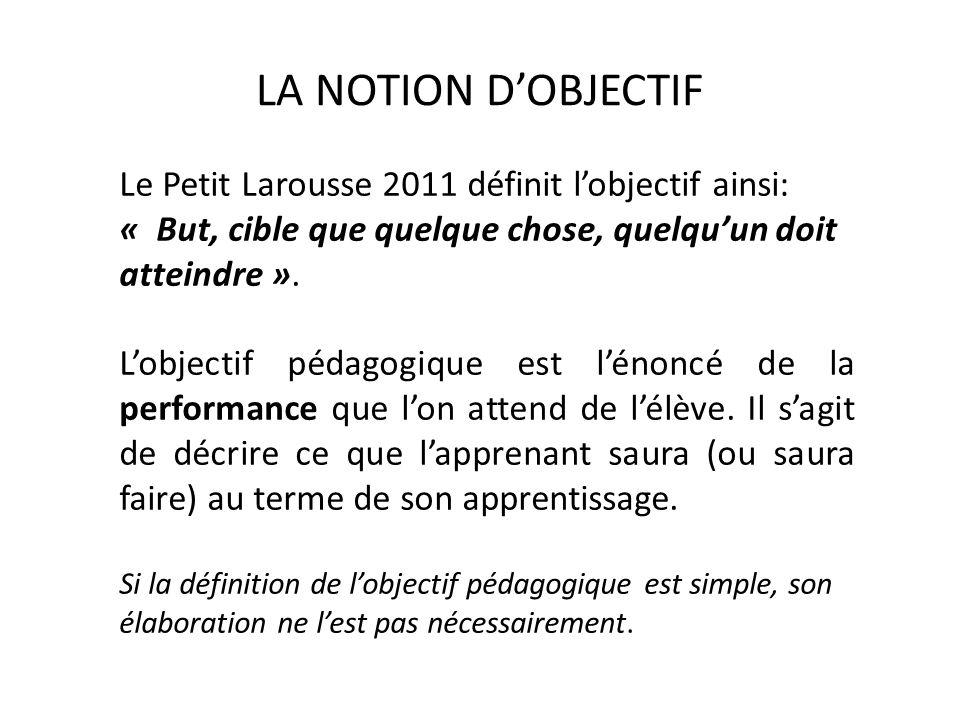 LA NOTION D'OBJECTIF Le Petit Larousse 2011 définit l'objectif ainsi: