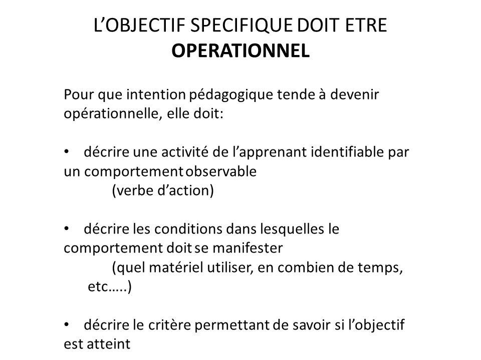 L'OBJECTIF SPECIFIQUE DOIT ETRE OPERATIONNEL